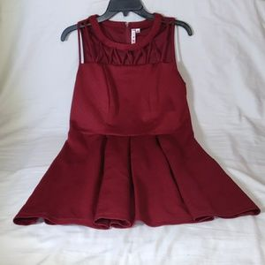 Three Hearts Burgundy Sleeveless Dress